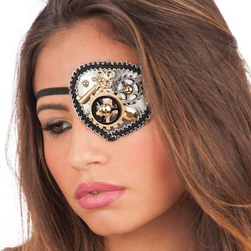 EyePatch with Steampunk Gearwheels Victorian Science Fiction Inventor Steam Punk